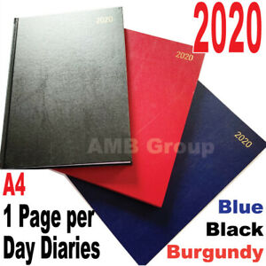 2020 A4 Diary Day to Page Desk Diary Hard Backed Dairy NEW Various Colours