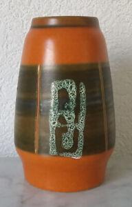 Old Ceramic Vase Flower Vase Ceramics W.Germany 637-14 Orange 70er 80er