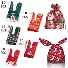 10Pcs Christmas Candy Cookies Gauze Bag Stocking Bottle Xmas Ornaments Decor Hot