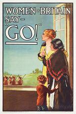 VINTAGE Donne della Gran Bretagna dire GO GUERRA POSTER A2 stampa