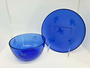 Frosted Blue Glass Plate & Bowl Etched Poodle Motif Handmade Dog Bright Vibrant