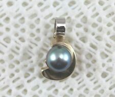 Black Pearl 14k Pendant - Freshwater 7mm Pearl - Handcrafted in America