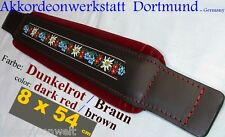8 x 54 cm Dunkelrot, Akkordeon Bassgurt, Riemen, Folk - accordion bass strap