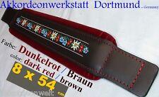 8 x 54 cm rosso scuro, fisarmonica Bass Cinghia, cinghie, folk-accordion BASS STRAP