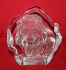 Mats Jonasson Swedish Crystal Glass Lion Paperweight Figure Signed Sweden 2285