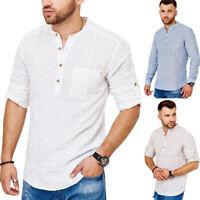 Herren Leinenhemd Baumwoll-Leinen-Mix Hemd Krempelarm Freizeithemd Weiß/Blau NEU