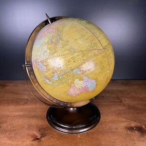 Vintage Rare Lexicon Publications Yellow Toned Swivel Globe on Metal Base