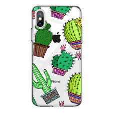 For XR XS MAX Cactus Printed Clear Phone Cover Shockproof Hard Case Protection