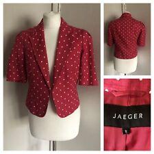 JAEGER Pink White Polka Dot Short Cropped Linen Jacket Blazer Size UK8 Wedding
