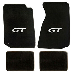 NEW! 1994-2004 Ford Mustang Black Carpet Floor mats with GT Logo Silver Set of 4