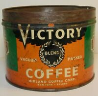 Old Vintage 1930s MIDLAND VICTORY COFFEE KEYWIND COFFEE TIN 1 POUND TOLEDO OHIO