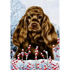 Winter Garden Flag - Chocolate Cocker Spaniel 152061