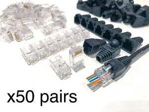 50 x SVR-Tech Tool Gold Plated EZ RJ45 Cat6 UTP Pass Through Connectors & Cover