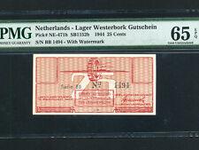 Netherlands:P-1152b,25 Cents,1944 * Westerbork Lager * PMG Gem UNC 65 EPQ *