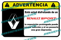 Vinilo impreso pegatina ADVERTENCIA RENAULT SPORT STICKER DECAL