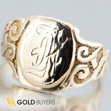 1910's Estate Edwardian 14k Yellow Gold Men's Signet Script Ring - Size 10