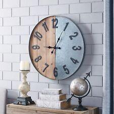 Wood Metal Industrial Wall Clock Indoor Oversized Rustic Vintage Analog Display