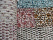 Indian Hand Block Print Kantha Cotton Quilt Batting Indian Reversible Blanket