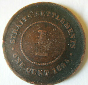 1895 STRAITS SETTLEMENTS 1 CENT, VICTORA QUEEN, COPPER, G/VG DETAILS, CIRCULATED