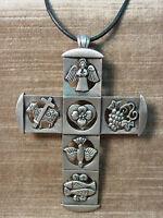 """/""""JJ/"""" Jonette Jewelry Silver Pewter 30/"""" Cutout CROSS Necklace"""