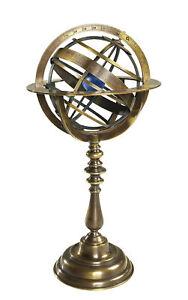 "Antiqued Armillary Dial Bronze Sphere Globe 14"" Nautical Desk Top Decor"
