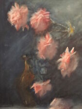 VINTAGE MID CENTURY MODERN INTERIOR DECORATE FLORAL FLOWER STILL LIFE PAINTING