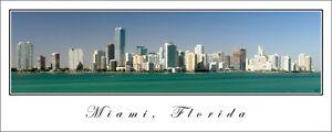 Poster City Skyline Panorama Miami Florida Panoramic Fine Art Print 12x30 Photo