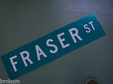 "Vintage ORIGINAL FRASER ST STREET SIGN 36"" X 9"" WHITE LETTERING ON GREEN"
