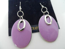 FUNKY RETRO LILAC SILVER 60s 70s DOUBLE OVAL ENAMEL DISC DROP EARRINGS new
