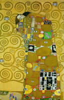 Wonderful Oil painting Gustav Klimt Fulfillment abstract lovers portrait canvas
