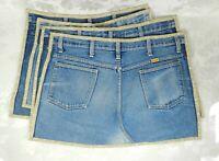 Set of 4 Vintage Denim Blue Rustler Jean Placemats Handmade 23 x 15 Tan Edging