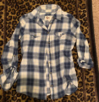 So Women's Button Up Long Sleeve Top Blue Plaid Size Medium