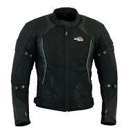 Black Motorcycle Men Mesh Cordura Textile Summer Jacket Motorbike CE Protector