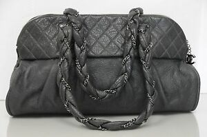 New CHANEL Classic Large Shopping Quilted Tote Grey SOFT Leather Bowler Bag