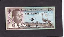 Congo 100 Francs 1964 star holes P-6a  AU
