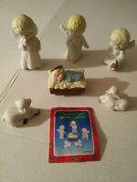 Vintage Angel Nativity Child Figurine 6 piece Christmas Around The World #54-722