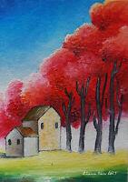 Original ACEO ART oil MINIATURE Naive landscape forest fantasy cottages