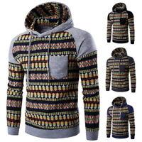 Fashion Mens Long Sleeve Hooded Hoodie Sweatshirt Jacquard Knitted Top Outerwear