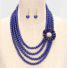 Four Layers Royal Blue Glass Faux Pearl Side Flower Necklace Earring Set
