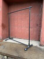 1940s Art Deco Cast Iron Clothing Rack Rolling Closet Industrial Mercantile