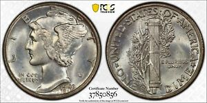 1943-S Mercury Dime PCGS Gold Shield MS67FB Full Split Bands CAC verified