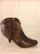Faith Brown Ankle Leather Boots Size 39