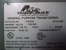 T181048 General Purpose Transformer 0.100 Kva Prim: 120x240 Sec: 12x24