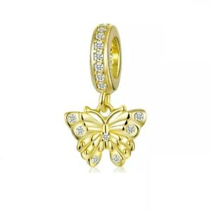 Butterfly Dangle Charm Genuine 925 Sterling Silver With Gold Plating And CZ Mum