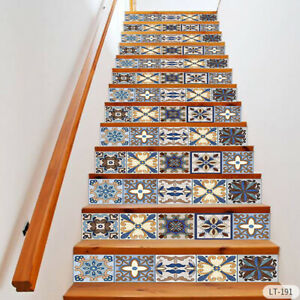 Vinyl 13Pcs Stair Riser Staircase Stickers 3D Mural Decals Self Adhesive