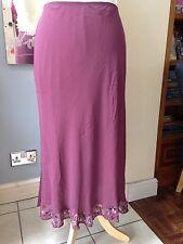 Country Casuals 100% Silk Petite Dusky Pink Skirt Embellished Hem Petite Large