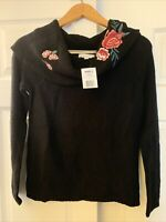 Women's Black Cowl Neck Seeater NWT S By Cloud Chaser W Roses