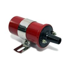Red 12V Round Oil Filled Canister Style Electronic Ignition Coil 45,000 Volts
