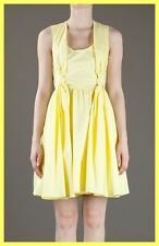 NWT $460 CARVEN KNOT YELLOW COTTON POPLIN FIT FLARE SLEEVELESS DRESS FR 38 4 6 S