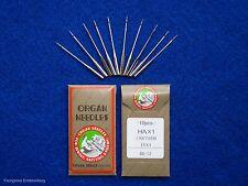 10 Organ Domestic Embroidery Sewing Machine Needles Flat Backs 80/12 130/705H